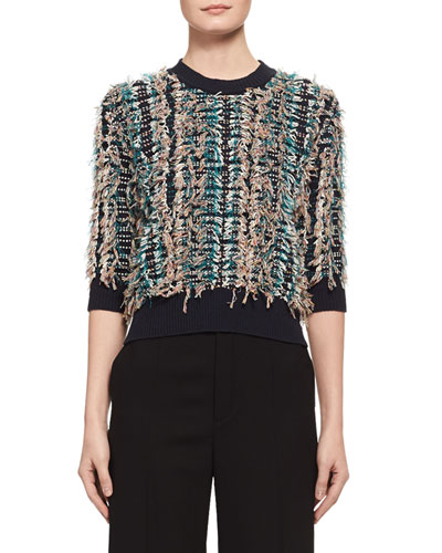Embroidered Fringe 3/4-Sleeve Sweater, Blue/Multicolor