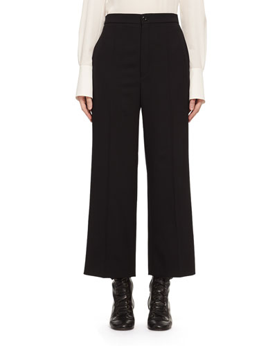 High-Waist Stretch-Wool Cropped Pants, Black