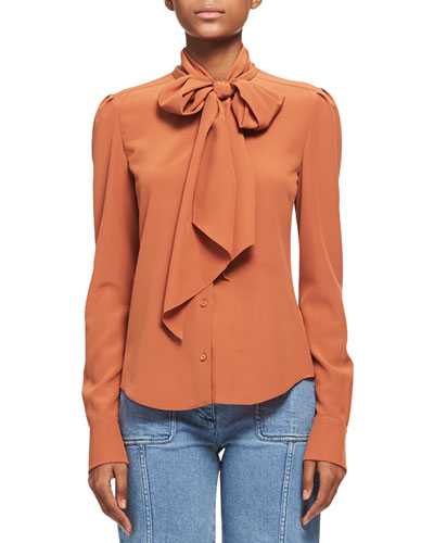 Silk Crepe Long-Sleeve Tie-Neck Blouse, Dark Orange
