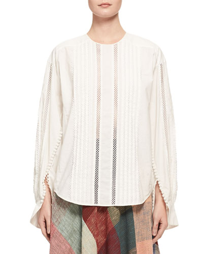 Button-Sleeve Lace-Trim Cotton Blouse, White