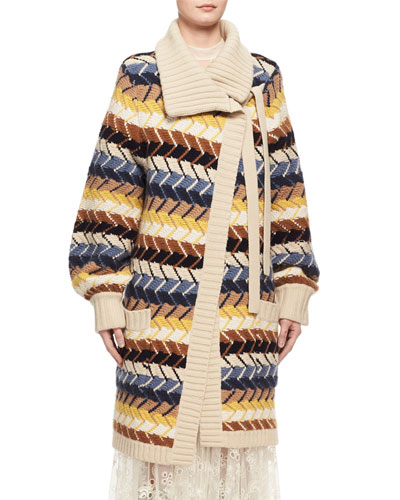 Textured Herringbone Long Cardigan, Blue/Multicolor