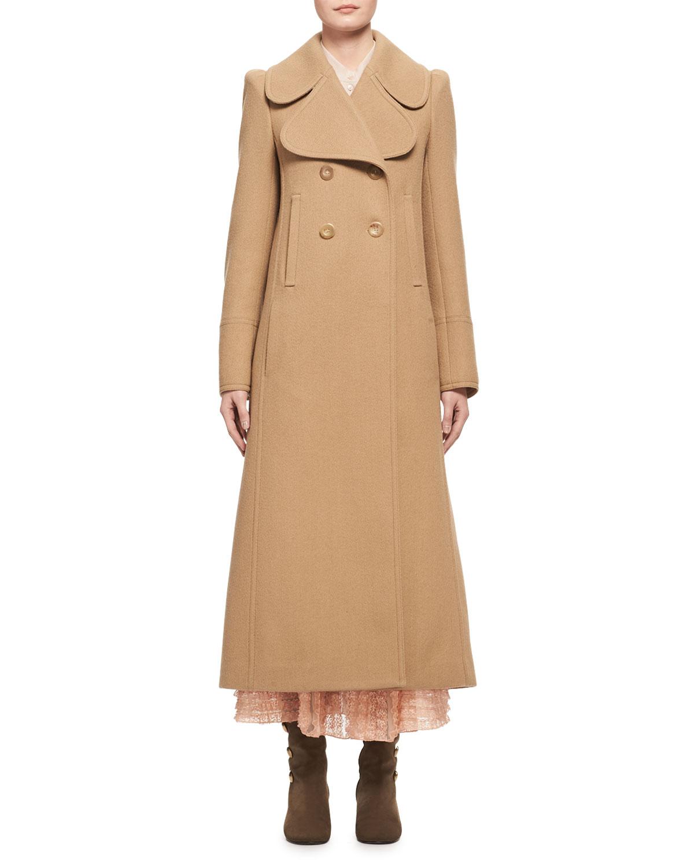 Double-Breasted Full-Length Dress Coat, Camel
