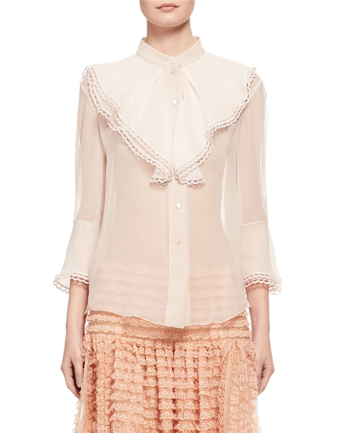 Silk Muslin Jabot Blouse, Light Pink