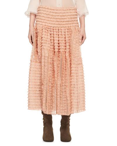 Tiered Ribbon Lace Ruffled Silk Skirt, Peach