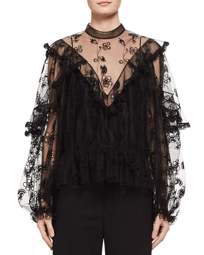 Long-Sleeve Embroidered Tulle Blouse in Black