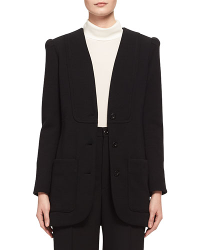 Collarless Punto Milano Jersey Jacket, Black