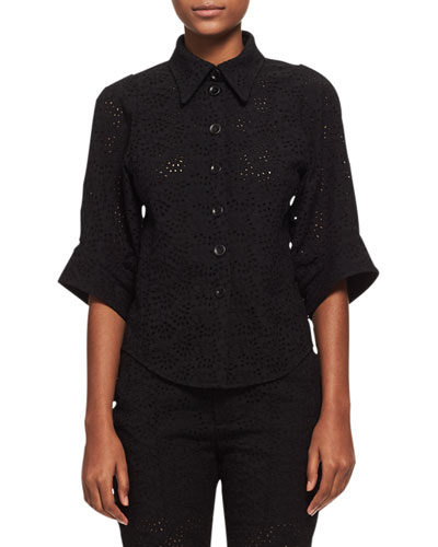 3/4-Sleeve Eyelet Blouse, Black