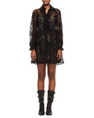 Floral Lace Long-Sleeve Minidress, Black