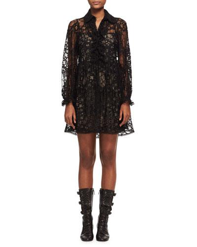 Floral Lace Long-Sleeve Minidress, Black