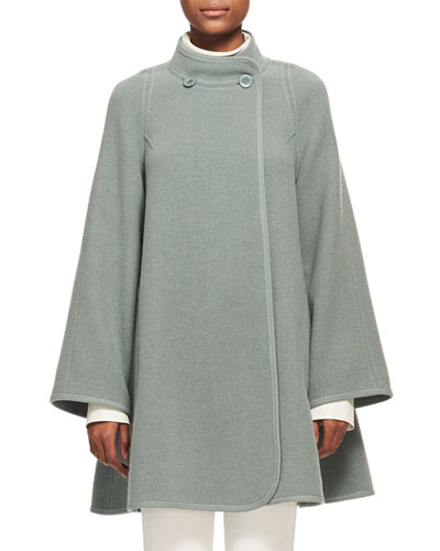 Iconic Mandarin-Collar Wool Swing Coat
