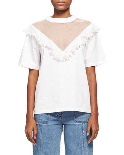 Ruffled Tulle Short-Sleeve T-Shirt, White