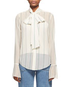 Striped Chiffon Tie-Neck Shirt, White/Green