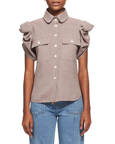Tartan Plaid Ruched-Sleeve Shirt, Multicolor