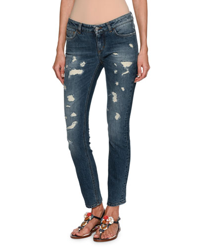 Distressed Skinny Ankle Jeans, Dark Blue