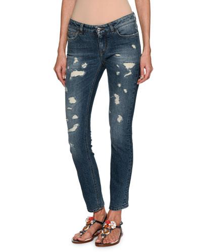 Distressed Skinny Ankle Jeans, Dark Blue
