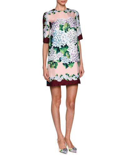 Hydrangea Silk Twill Shift Dress, Multicolor