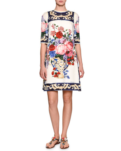 Floral Vase Charmeuse Shift Dress, White