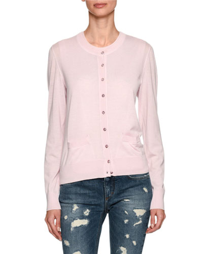 Cashmere Jewel-Button Cardigan, Light Pink