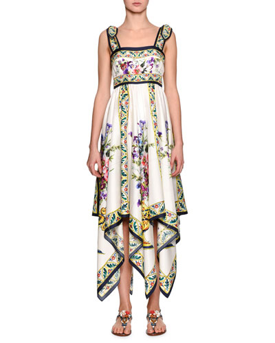 Floral-Print Silk Handkerchief Dress, White