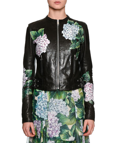 Hydrangea Leather Biker Jacket, Black