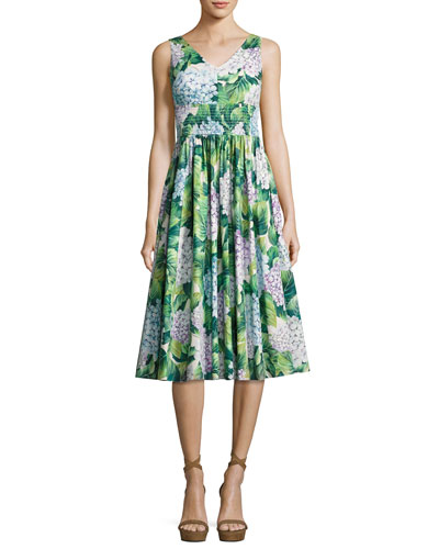 Hydrangea Sleeveless Smocked-Waist Midi Dress