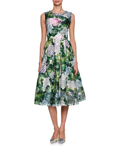 Embellished Hydrangea Sleeveless Cocktail Dress, Green