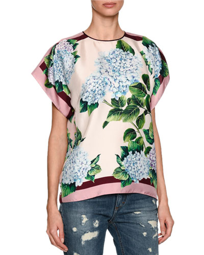 Hydrangea Silk Twill Top, Multicolor