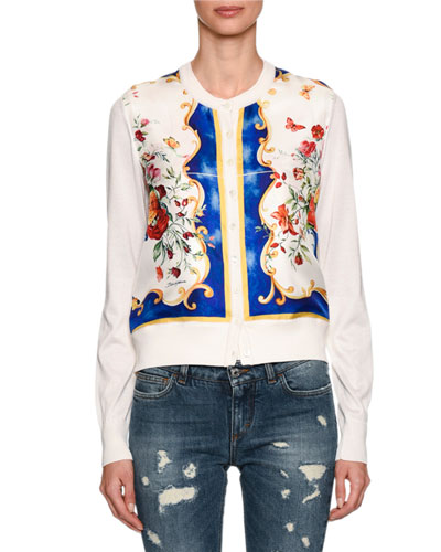 Baroque Floral-Print Cardigan, White