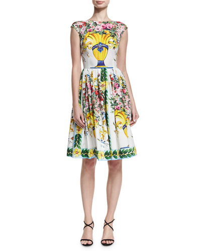 Floral Vase Cap-Sleeve Fit & Flare Dress