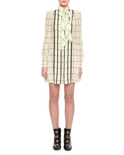 Long-Sleeve Windowpane Tie-Neck Shirtdress, White/Black