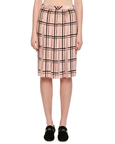 Sequined Windowpane Skirt with Sheer Pleats, Blush