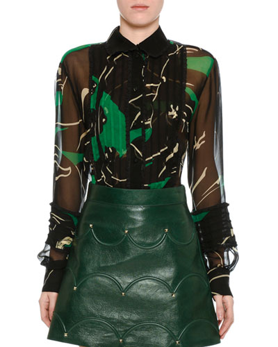 Chiffon Panther-Print Blouse, Green/Black