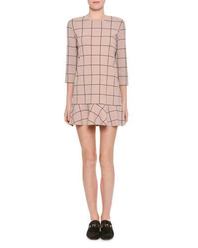 Windowpane 3/4-Sleeve Flounce-Hem Dress, Blush