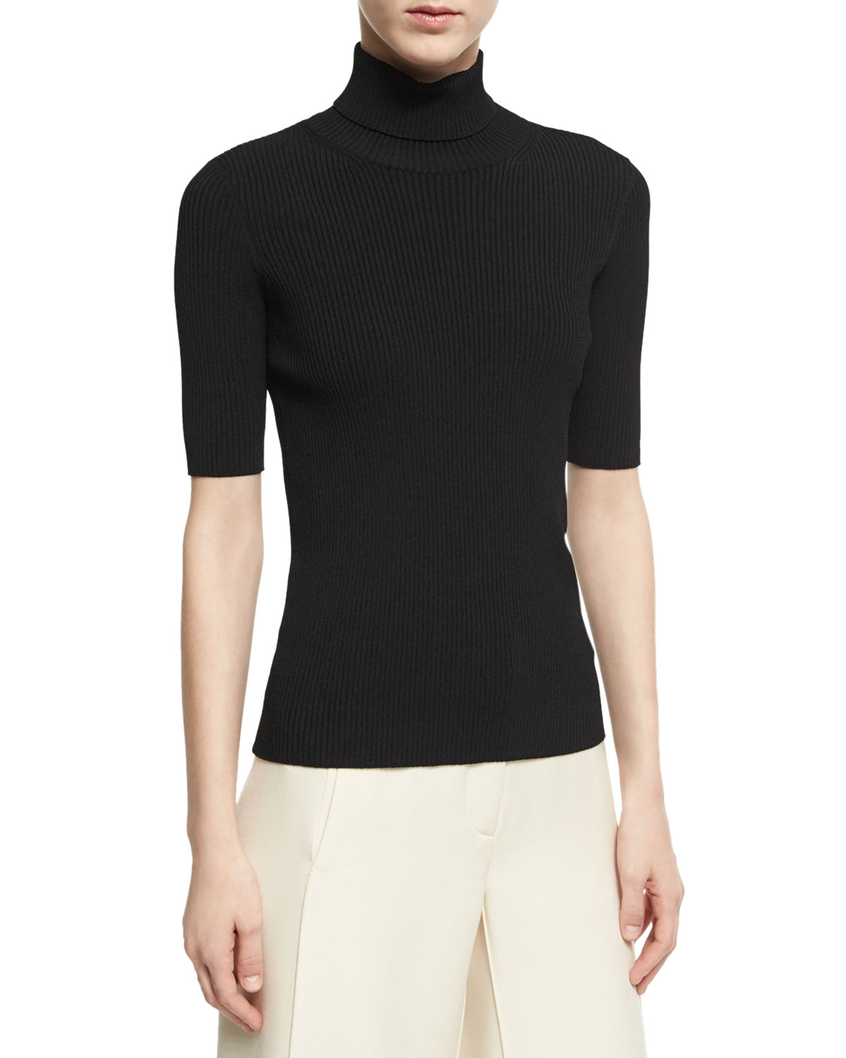 Ribbed Half-Sleeve Turtleneck Top