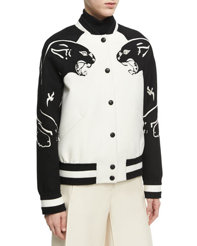 Panther Varsity Bomber Jacket, White/Black