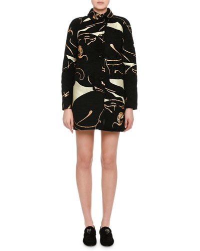 Panther Velvet Brocade Car Coat, Black