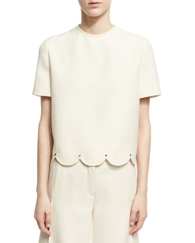 Crepe Couture Scalloped Top with Rockstud Trim, Ivory