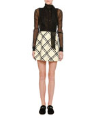 Windowpane Crepe Couture & Organza Minidress, White/Black