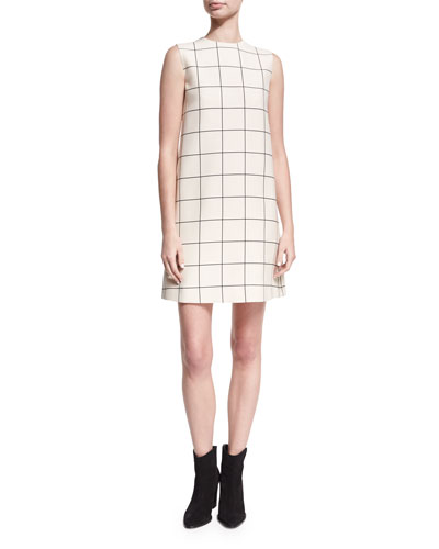 Sleeveless Windowpane Crepe Shift Dress, Ivory