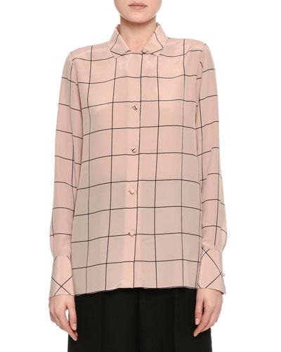 Windowpane Crêpe de Chine Shirt, Blush