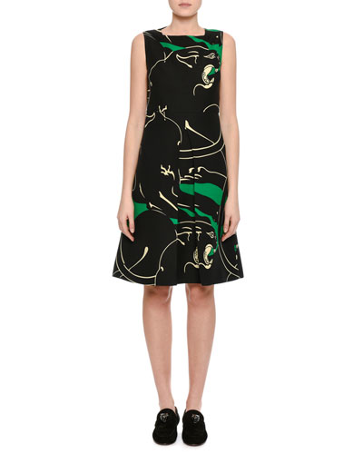 Panther Crepe Couture Sleeveless Dress, Green/Black