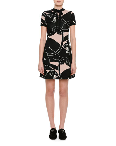 Panther Jacquard Tie-Neck Short-Sleeve Minidress
