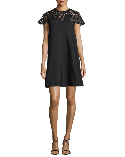 Rockstud Lace-Yoke Babydoll Dress