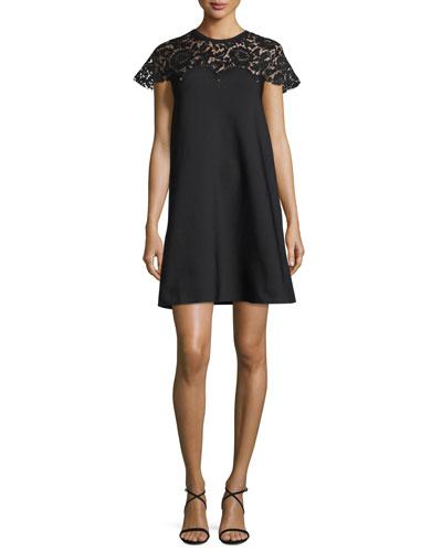 Rockstud Lace-Yoke Babydoll Dress