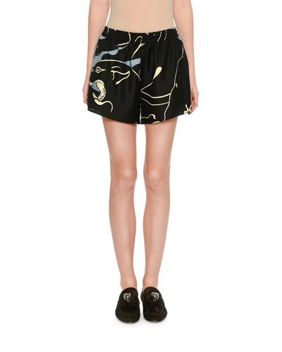 Silk Tiger-Print Shorts, Gray Pattern