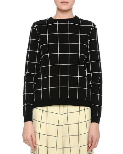 Windowpane Boxy Crewneck Sweater, Black
