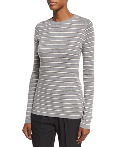 Metallic-Striped Long-Sleeve Top