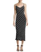 Beaded Chiffon Cowl-Neck Slip Dress, Black/White