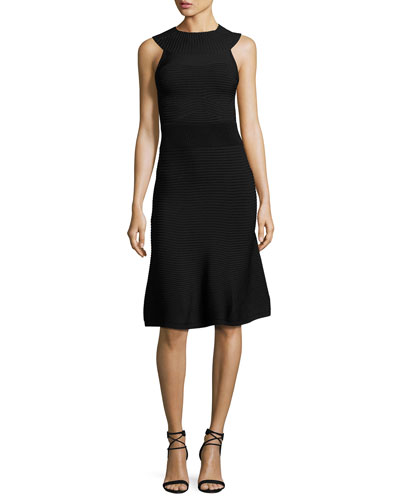 Ribbed Sleeveless A-Line Dress, Black