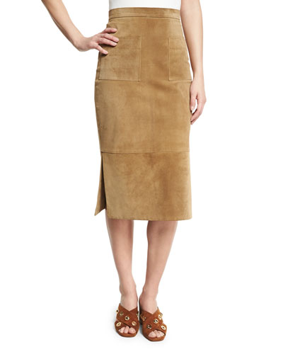 Suede Side-Slit Pencil Skirt, Beige